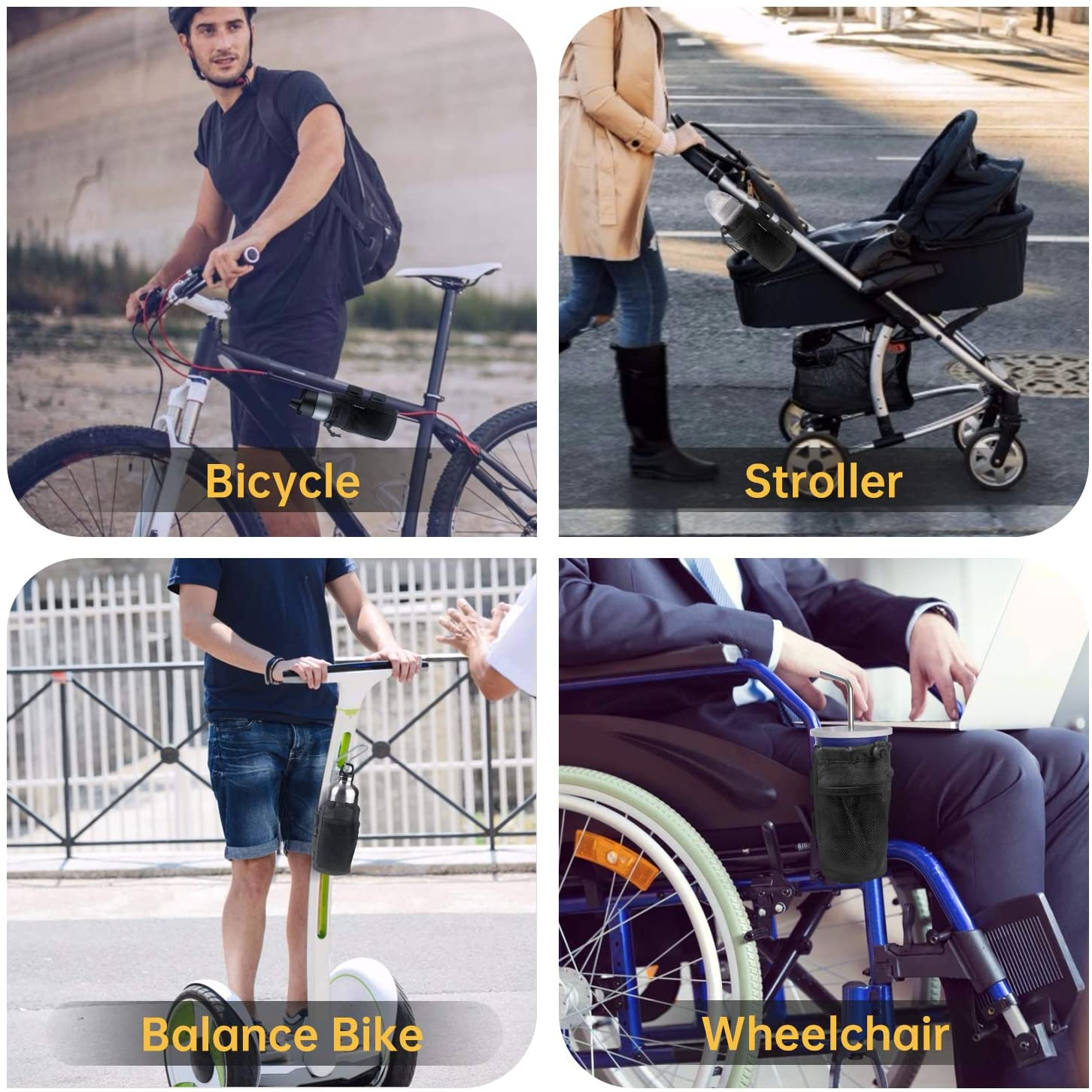 Scooter Boat; Drink Holder Accessories with Net Pocket and Cord Lock FHV 2-Pack Cup Holder for Bike MTB Motorcycle Stroller and Wheelchair; Universal Cup Holders for UTV//ATV Car
